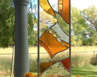 LARGE Stained glass garden stake - warm tones of yellow and gold