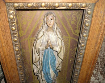 Antique Belgium Church Chapel Praying Virgin Mary Statue w/ Original Old Wooden Ornate Shadow Box Religious Wall Art