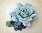 Unique light blue rose with antique blue hydrangea, blue millinery berries and white blossoms vintage wedding bridal hairflower hair piece