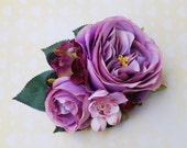 Unique lilac roses with pink cherry blossoms, hydrangea flowers and berries vintage wedding bridal hairflower hair piece hair flower 50s
