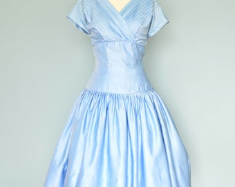Vintage 1950s Dress...SMARTCRAFT Blue Polished Cotton Party Dress