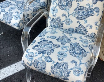 Pair Lucite Arm Chairs / New Upholstery
