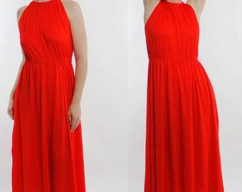 Vintage 70's polyester goddess dress, bright orange / red, elastic waist, slightly ruched neckline, sleeveless - Small