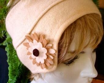 Womens Pure Cashmere Brimlet Hat Headband Headwrap OOAK Cream Beige Art Deco Flapper Chemo Headwear