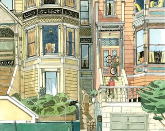 San Francisco victorian houses print