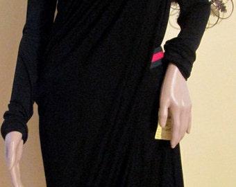 Vintage Black Draped Dress by Krizia.  Long Sleeve Black Formal Dress.  Black Designer Dress