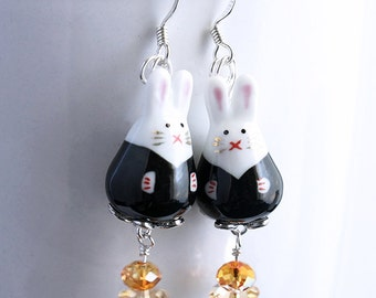 Bunny Earrings - Cute Kawaii Black and White Rabbit Beads, Gold Crystal Flowers, Silver Plated Earwires