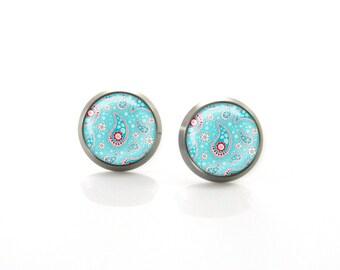 Turquoise Paisley Boho Mehndi Tribal Henna Titanium Post Earrings | Hypoallergenic Earring Stud | Sensitive jewelry post studs