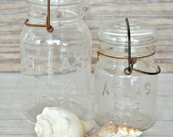 Vintage Canning Jars-Atlas Canning Jars-With Bails-Set of Two