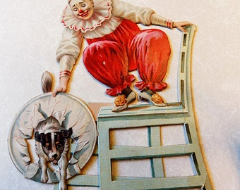 Antique Standing Embossed Card/ Raphael Tuck and Sons/ Printed in Germany/ Circus Clown With Dog/ Very Nice!