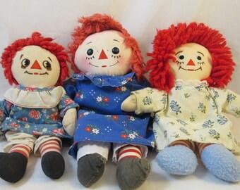 3 Vintage Raggedy Ann Dolls Soft Body Dolls Knickerbocker Toy Company Copyright Dolls Button Eyes I Love You Heart on Chest Raggedy Ann Andy