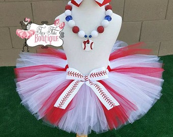 BASEBALL PRINCESS- Red and white baseball tutu with hairbow:  Newborn-5T