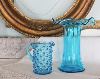 2 Antique Victorian Blown Blue Glass Vase and Pitcher