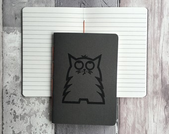 Cat journal - Small lined handmade notebook featuring Bob the cat - dark grey hand-printed, hand-stitched A6 cat notepad