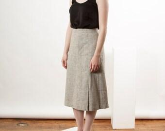 ON SALE High Waisted Wool Skirt / Flare Grey Skirt / Large Retro Straight Skirt