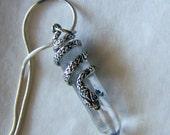 Sterling Silver Snake Quartz Crystal Pendant Necklace