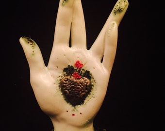 "lover's spring sale.•* Ooak handmade protection palm...""Double Crossed""..kiln fired stoneware ceramic clay LEFT hand of Luck"