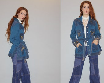 Vintage 1960s Blue Embroidered Ethnic Hippie  Suede and Wool Sweater Coat - Vintage 60s Blue Suede Coats - Boho Suede Jacket - Wo0714