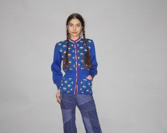 1940s Vintage Blue Peplum Floral Cardigan Sweater - Vintage 40s Cardigan  - Vintage 1940s Cardigans - WT0416