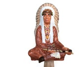 Reserved for Meg, Vintage ceramic indian chief statue, 1974 Byron Molds indian cheif statue