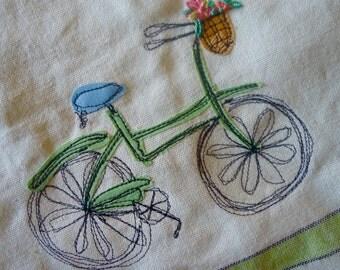 Bicycle tea towel, bicycle kitchen towel, appliqued tea towel