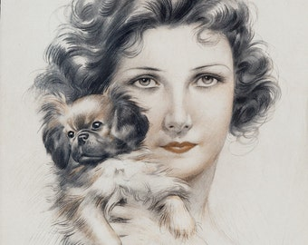 1923 Amazing 20s PIN UP Antique print from art deco era. Girl with  a cute dog