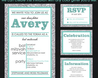 Aqua Teal Blue and Silver Glitter PATTERN Bat Mitzvah Invitation - Save the Date Card - RSVP Card - Thank You Note - Envelope Addressing