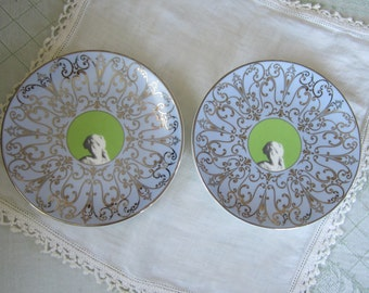 SALE - Pair of Wedgwood Muse - Bone China - Platinum Banded - Side Mini Accent Plates - drastically reduced to sell !