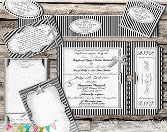 PERSONALIZED Black & White Wedding Stationery Set  - Printable - Customised - Diy - CUSTOMISED