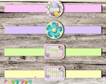 Easter Egg Belly Bands - Easter Party Set - School Parties / Gift Giving - Favours - Printable - Digital File - INSTANT DOWNLOAD