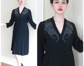 Vintage 1940s Black Beaded Cocktail Dress / 40s 50s Black Party Dress Rayon Crepe