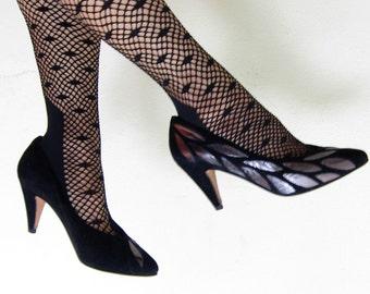 Vintage 1980s Bruno Melli Pumps in Black and Silver / 80s Designer Shoes with Metallic Leaf Motif / 6 1/2