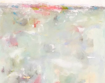 Light Blue Abstract Seascape Painting- Pastel Morning 24 x 48