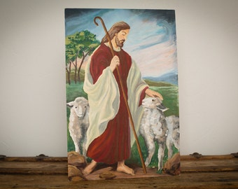Jesus with Lambs Original Painting, Signed N Russell, 18x12, Vintage 60s