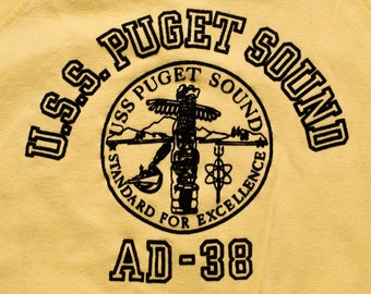 USS Puget Sound AD-38 Raglan Sweatshirt, US Navy Destroyer Ship, Vintage 70s-80s