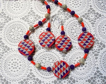 Chunky Candy Apple Red, Purple and Gray Geometric Necklace and Earrings (2300)