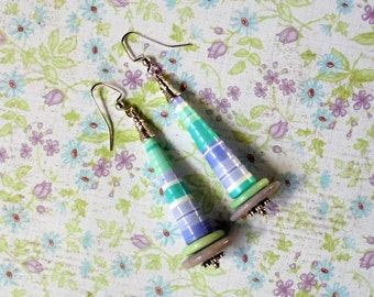 MInt, Light Teal and Lavender Earrings (2475)