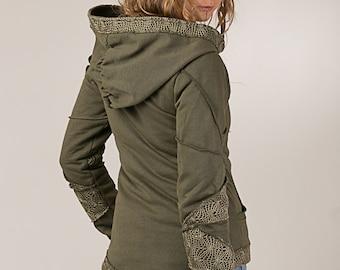Fairy Patch Hooded Jacket - Tribal Pixie Coat - Cotton Fleece Shirt  - Cozy Warm Light Jacket - women's clothing -Jacket