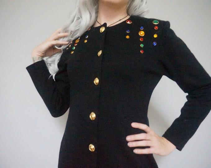 button down bedazzled rhinestone gem gold baroque style early 90s 1990s club kid hipster kitsch black mini tight dolman sleeve dress medium