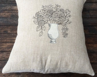 Black Flower Pillow Throw Cover, Floral Natural Beige Linen Cushion Cover Uk, rustic bedroom decor, Black Embroidery, Vase Flowers