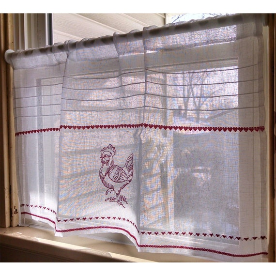Sheer Rooster Cafe Curtain French White Linen By
