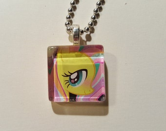 My Little Pony Fluttershy glass tile pendant necklace