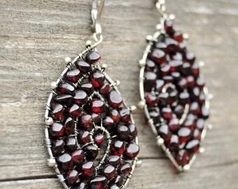 Garnet Earrings, Spiral earrings, Wire wrapped earrings, OOAK earrings, Large Silver leaf earrings, Natural jewelry, Romantic earrings