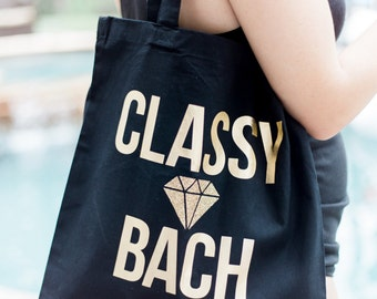"""Bachelorette Tote Bag for Bride and Bridesmaids or Friends, """"Classy Bach"""" Bag for Bride to Be Bachelorette Gold with Glitter (Item - BCB100)"""