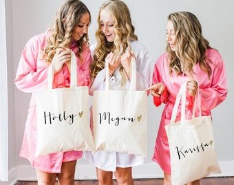 Personalized Bag Gift for Bridesmaids, Name Tote Bags Canvas Gift for Wedding Bridal Party ( Item - BPB300)