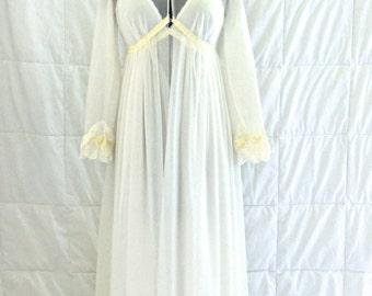 """vintage wedding lingerie - 1950s """"I Do"""" white nightgown/sheer robe set"""