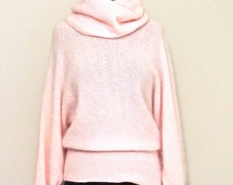 vintage angora sweater - 1980s Riuoli Club pink angora cowl-neck sweater