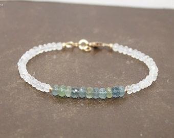 Moss Aquamarine and Moonstone Bracelet, Moss Aquamarine Jewelry, Layering, Gemstone Bracelet
