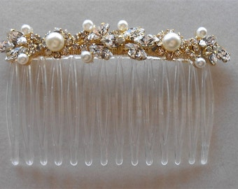 Bridal Comb White Pearls & Marquise Rhinestones Gold Headpiece