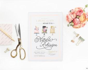 "Bridal Shower Floral Couture Invitations - WaterColor Cake Printable JPEG Wedding Shower Invitation - 5""x7"" Bridal Shower Invites"